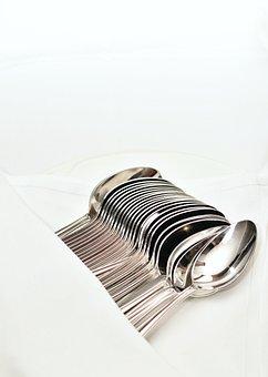 Spoon, Silver, Chrome, Eat, Shiny, Reflect, Restaurant