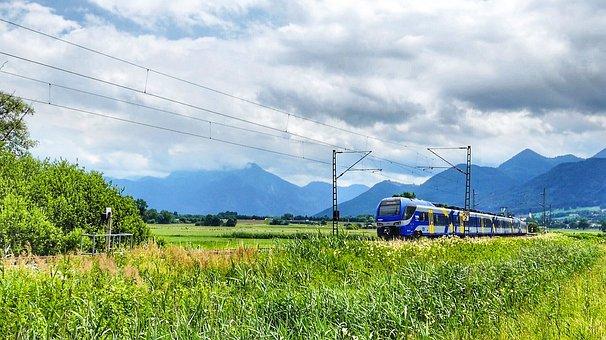 Nature, Sky, Field, Panorama, Landscape, Train, Railway