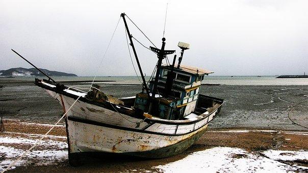 West Sea, Tidal, Fishing Boat, Sea, Times
