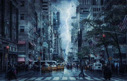 City, Street, Weather, Storm, Urban