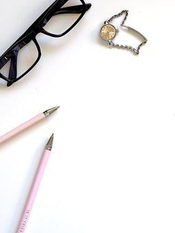 Pencil, Composition, Writing, Glasses, Watch, Time