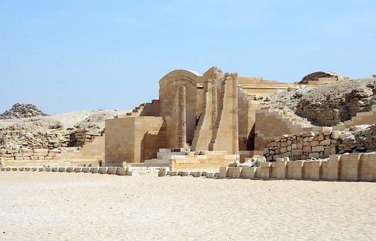 Egypt, Saqqara, Temple, Pyramid Of Teti, Desert