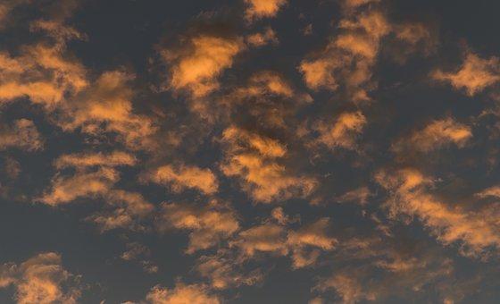 Sunset, Sky, Clouds, Fluffy, Orange, Grey, Cloudscape