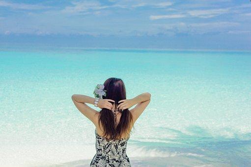 Sand, Water, Summer, Beach, Relaxation, Girl, Asian