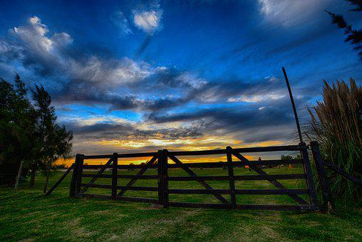 Sky, Lawn, Nature, Outdoors, Landscape, Gate, Sunset
