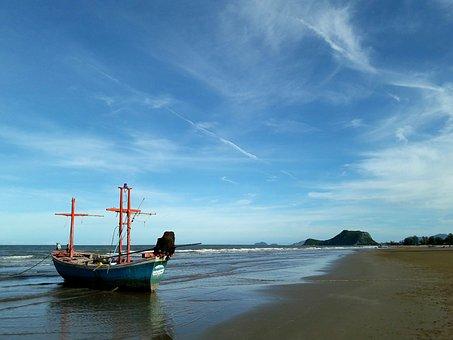 Beach, Pak Nam Pran, Ship, Summer, Thailand