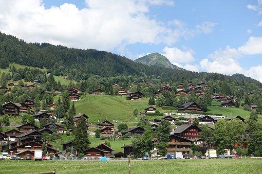 Village, Switzerland, Nature, Mountain, Tree, Hill