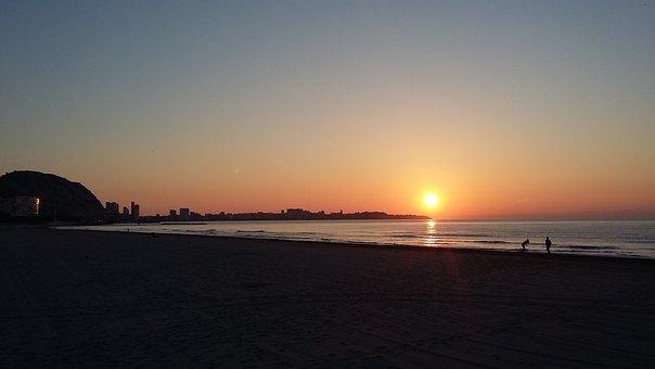 Sunset, Dawn, Sun, Body Of Water