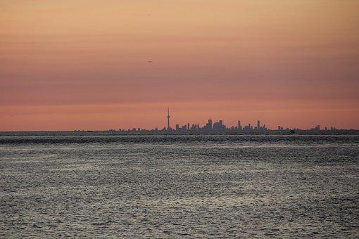 Sunset, Water, Sea, Dawn, Evening, Toronto