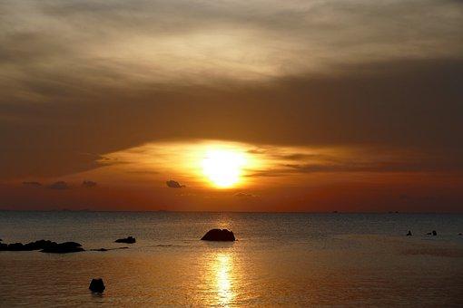 Sunset, Dawn, Sun, Waters, Dusk, Sea, Evening, Nature