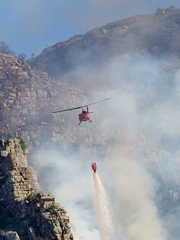 Fire Fighting Helicopter, Sky, Clouds, Smoke, Fire