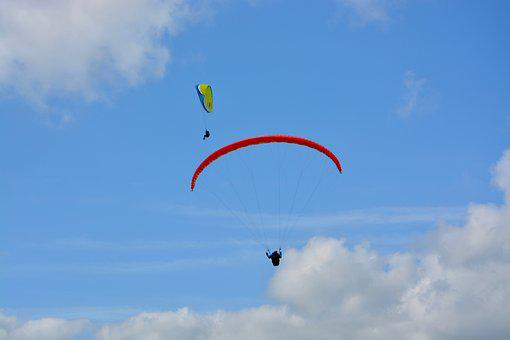 Paragliding, Paragliders, Wings, Sails, Sky, Flight