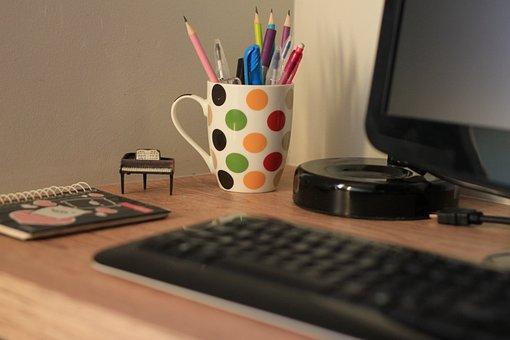 Laptop, Computer, Office, Electronic Keyboard, Internet