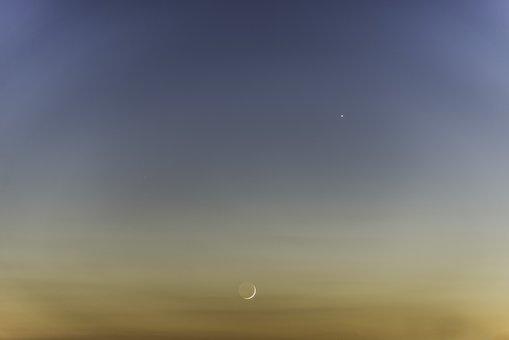 Sky, Sunset, Nature, The Sun, Moon, Venus