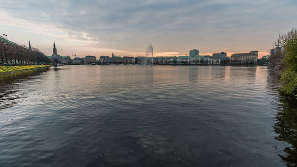 Waters, River, Reflection, Panorama, Bridge, Alster
