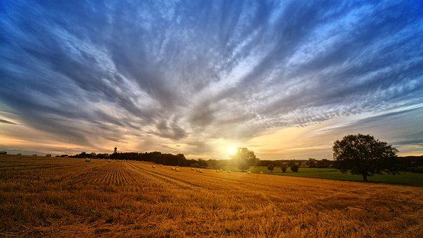 Nature, Panorama, Sky, Straw, Landscape, Sunset, Field