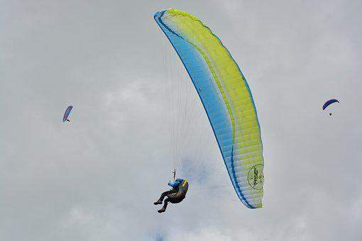 Paragliding, Wing Paraglider Blue Yellow, Air, Fly