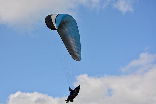 Paragliding, Paraglider, Wing Blue Black White