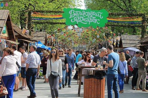 People, Street, Fair, Ukraine, Lviv, Easter, Holiday