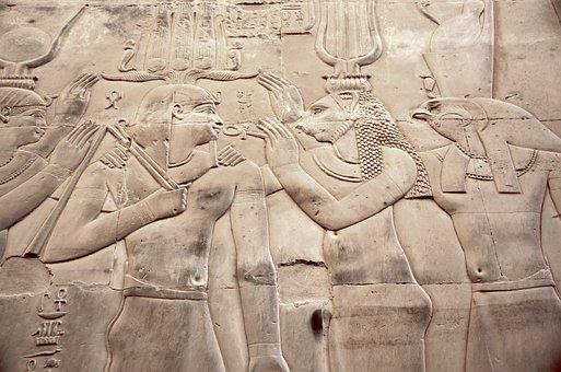 Egypt, Kom-ombo, Temple, Engraving, Pharaoh, Gods