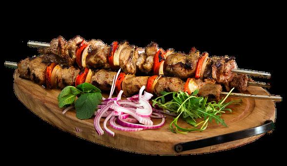 Skewer, Kebab, Barbecue, Food, Restaurant, Plate, Board