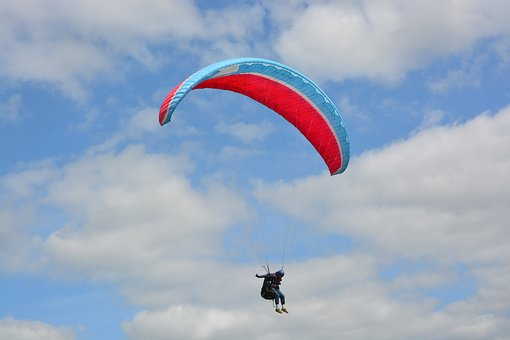 Paragliding, Red Wing Blue, Sailing, Clécy Normandy