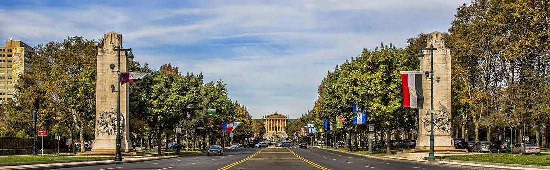 Nature, Panoramic, Tree, Road, Sky, Philadelphia