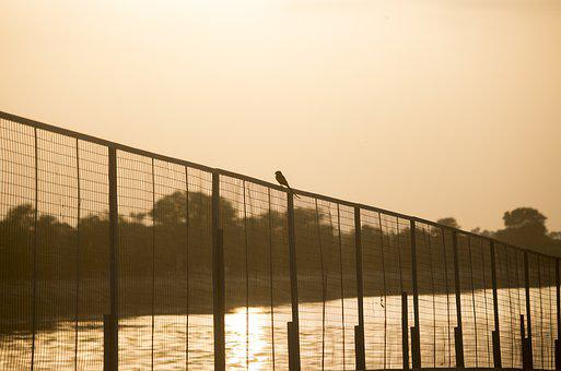 Sky, Outdoors, Architecture, Fence, Sunset, Bird, Water