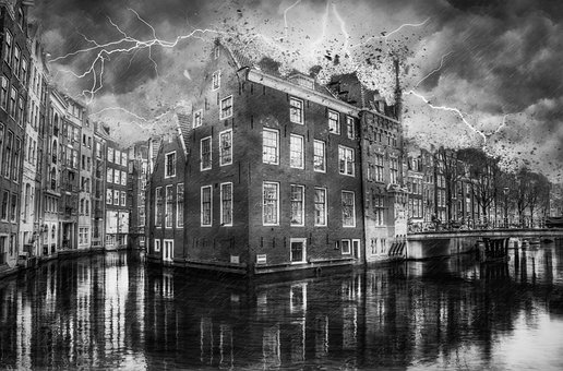 Reflection, Canal, Water, Street, Architecture, Storm