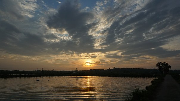 Sunrise, Reflection, Cloud, Pond, Waters, Summer, Sun