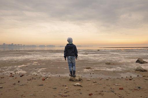Beach, Sea, Sand, Water, Sunset, Baby, Horizon, Coast
