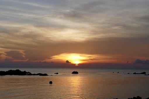 Sunset, Waters, Dawn, Sun, Dusk, Nature, Evening, Sky