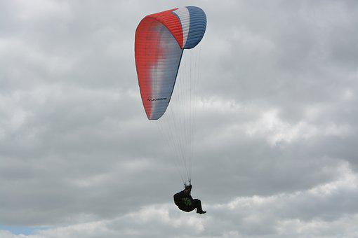 Paragliding, Wing Blue White Red, Paraglider, Air