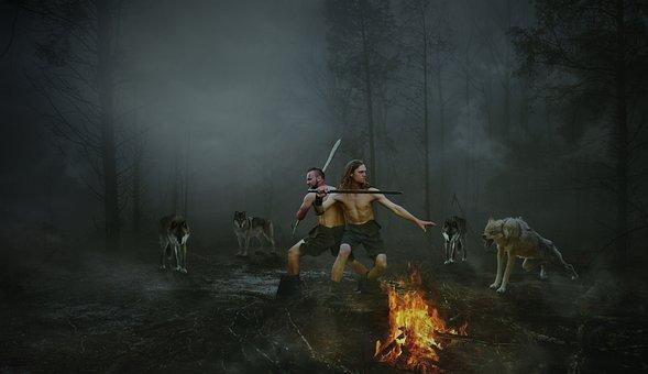 Human, Adult, Man, Smoke, Wolf, Courage, Adventure