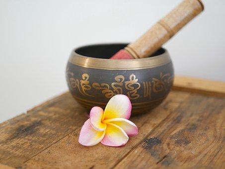 Wood, Wooden, Frangipani, Singing Bowl, Reiki, Relax