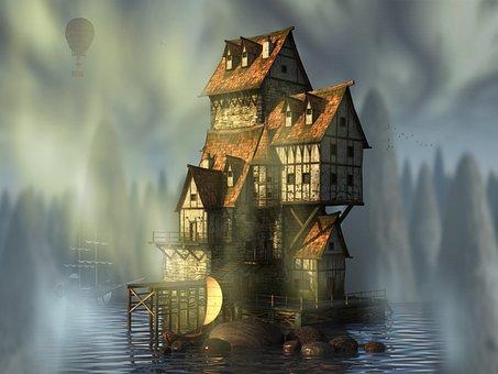 Waters, Building, Architecture, Landscape, Fantasy