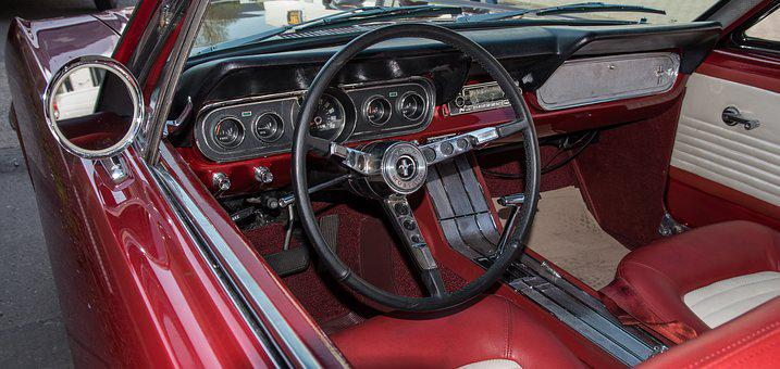 Auto, Ford, Mustang, Cockpit, Oldtimer
