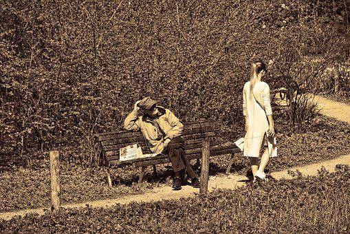 Man, Person, Woman, People, Sitting, Bench, Walking
