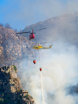Fire Fighting Helicopters, Sky, Smoke, Fire, Clouds