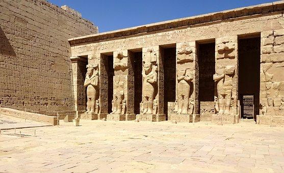 Egypt, Thebes, Luxor, Temple, Medinet-habu, Colonnade