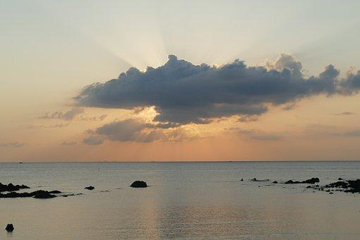 Waters, Sunset, Dawn, Sea, Beach, Dusk, Sun, Coast