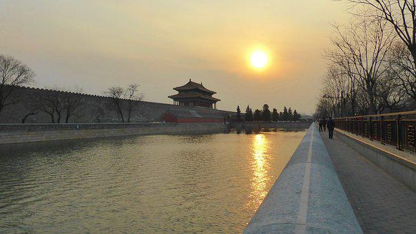 Water, Dawn, Sunset, Reflection, River, Forbidden City