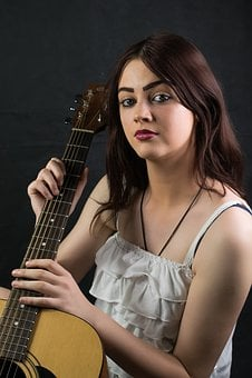 Music, Woman, Guitar, Young, Portrait, Guitarist