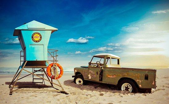Horizon, Beach, Lifebuoy, Lifeguard, Buoy, Jeep