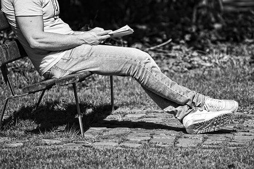 Man, Person, Sitting, Bench, Reading, Outdoors, Body