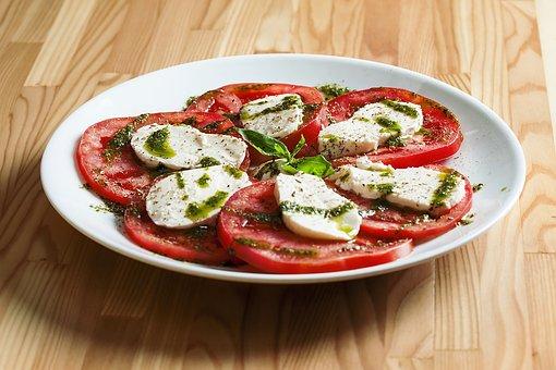 Food, Plate, Salad, Caprese, Meal, Vegetables