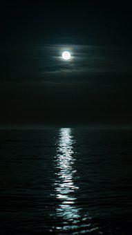 Nature, Darkness, Moon, Sea, Sky
