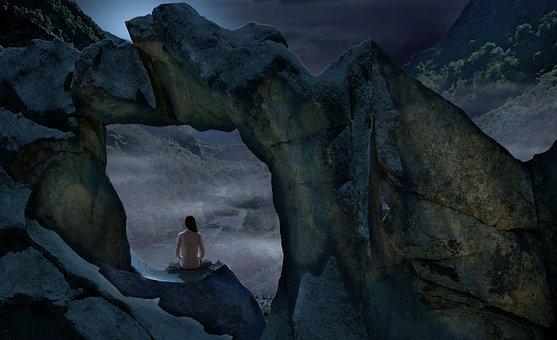Night, Luna, Meditation, Landscape, Nightlife, Flare