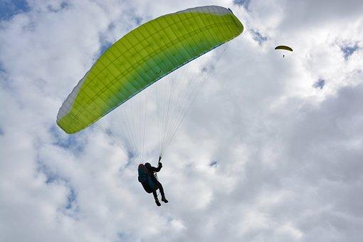 Paragliding, Paraglider, Wing Blue Green, Sailing