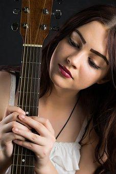 Woman, Beautiful, Young, Fashion, Pretty, Guitar, Music